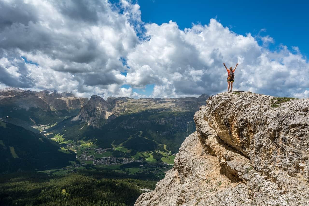 Glück und Erfolg: den Gipfel erreicht